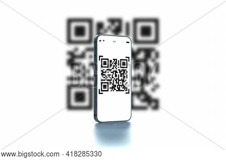 Code Scan Icon. Digital Mobile Smart Phone With Qr Code Scanner On Smartphone Screen For Payment Pay