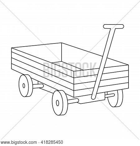 Garden Wagon Vector Outline Icon. Vector Illustration Farm Cart On White Background. Isolated Outlin