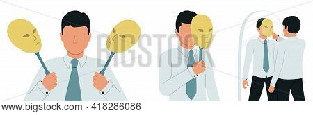 Imposter Syndrome. A Man Feels Like A Pretender Or A Deceiver Who Hides His Face Under A Mask.