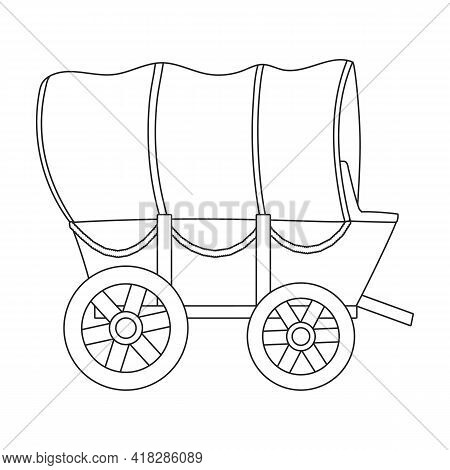 Wild West Wagon Vector Outline Icon.vector Illustration Western Of Old Carriage On White Background