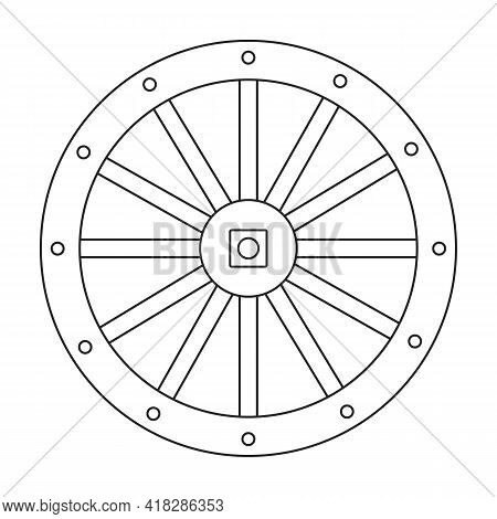 Wheel Cart Vector Outline Icon. Vector Illustration Wood Cartwheel On White Background. Isolated Out