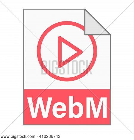 Modern Flat Design Of Webm File Icon For Web