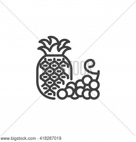 Pineapple And Grapes Line Icon. Linear Style Sign For Mobile Concept And Web Design. Fresh Fruit, Gr