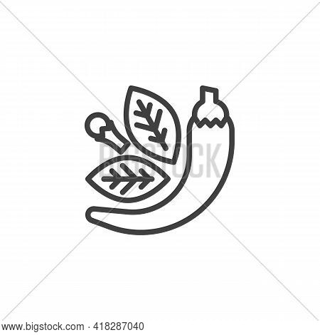 And Herbs Line Icon. Linear Style Sign For Mobile Concept And Web Design. Culinary Herbs Outline Vec