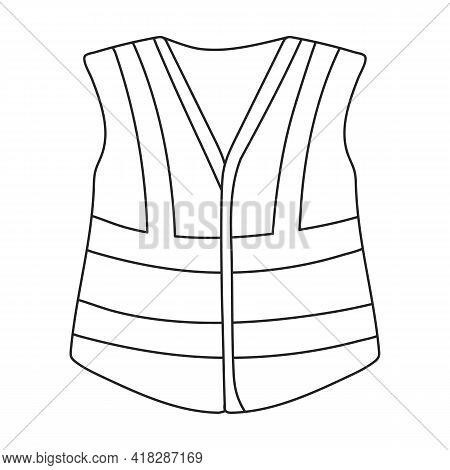 Vest Safety Vector Outline Icon. Vector Illustration Jacket Reflective On White Background. Isolated