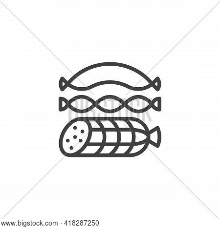 Sausages Line Icon. Linear Style Sign For Mobile Concept And Web Design. Salami And Sausage Outline