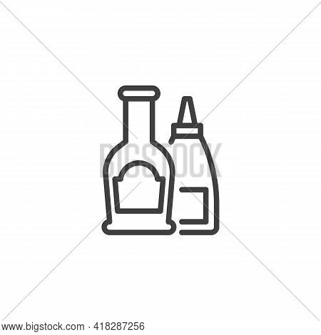 Condiment Bottles Line Icon. Linear Style Sign For Mobile Concept And Web Design. Ketchup And Mustar