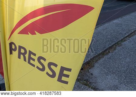 Bordeaux , Aquitaine France - 04 22 2021 : Presse Yellow French Flag With Logo Red Sign And Brand Te