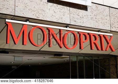 Bordeaux , Aquitaine France - 04 22 2021 : Monoprix Sign Logo And Text Brand Of Retail Chain Store