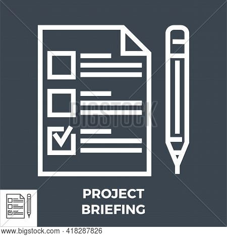 Project Briefing Thin Line Vector Icon Isolated On The Black Background.