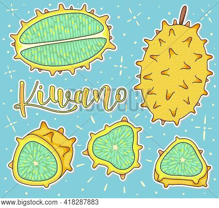 Kiwano - Whole And Pieces. Vector Stock Illustration - Colored Fruit Set