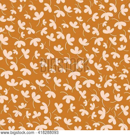 Vector Ditsy Allover Floral Silhouettes Vector Seamless Pattern