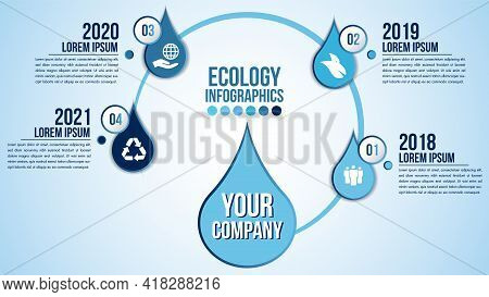 Infographic Eco Water Timeline Blue Design Elements Process 4 Steps Or Options Parts With Drop Of Wa