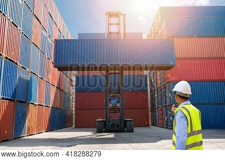 Foreman Control Loading Containers Box To Truck For Logistic Import Export Background, Business Logi