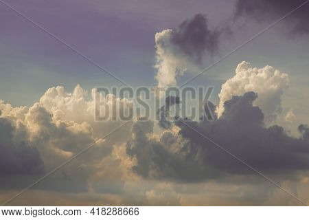 The Cloudy Beautiful Sky With The Light Shining From The Sun At Afternoon. The Softness Of The Cloud