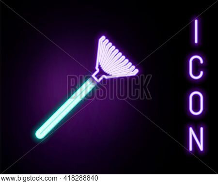 Glowing Neon Line Garden Rake For Leaves Icon Isolated On Black Background. Tool For Horticulture, A