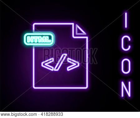 Glowing Neon Line Html File Document. Download Html Button Icon Isolated On Black Background. Html F