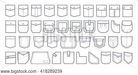 Pocket Patch Set. Pockets For Fashion Design Shirt, Dress, Denim, Round, Oval, Rectangular Shapes. V