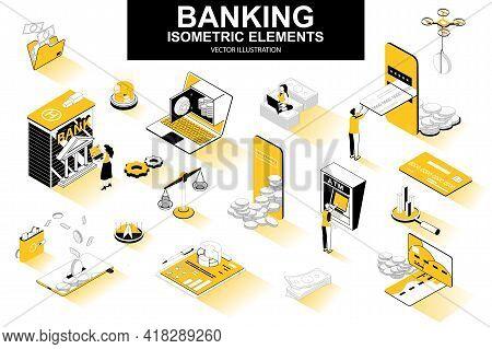 Banking Services Bundle Of Isometric Elements. Digital Wallet, Bank Building, Credit Card, Mobile Ap