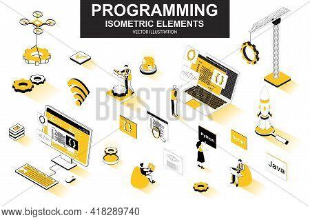 Programming Bundle Of Isometric Elements. Developer Working, Program Languages, Software Engineering