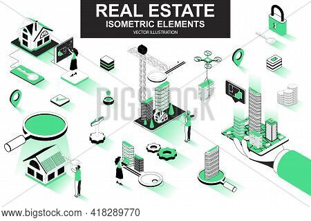 Real Estate Bundle Of Isometric Elements. Skyscraper, Office Center, Real Estate Agency, Realtor Wit