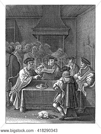 Council meeting of the magistrates of the city in the town hall where the authenticity of the miracle is sealed.