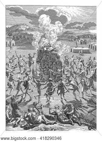 Canadians make sacrifice in honor of Quitchi Manitou, Jan Lucas van der Beek, after Bernard Picart, 1763 - 1818