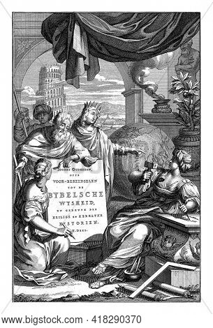 Moses watches a woman write the title of the book on a table. Next to him is a queen who points to another woman who carves a reference to the Bible into a stone with a chisel.