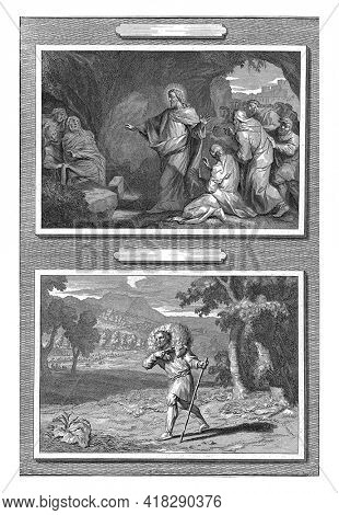 A record with two performances. Above the raising of Lazarus. Christ is standing in the cave next to the tomb of Lazarus. Lazarus, wrapped in cloth, rises from the grave