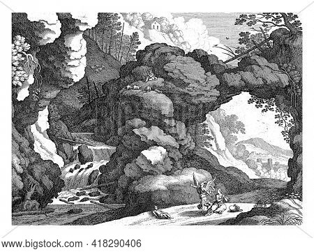 Hagar sits on the floor in despair with the empty pitcher beside him. Her son Ishmael is next to her. An angel saves Hagar by pointing out the waterfall.