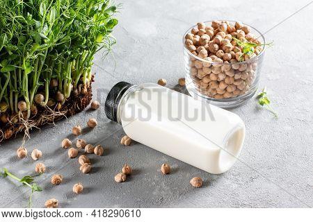 Alternative Types Of Milks. Chickpea Vegetarian Milk In A Bottle. Vegan Food Concept. Non Dairy Milk