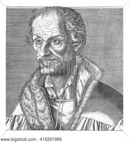 Portrait of the reformer Philipp Melanchton. In the frame below his portrait, a fourteen-line poem, in two columns, in Dutch.
