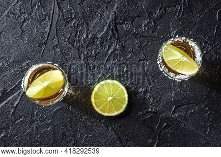 Tequila Shots With Salt And Lime Slices, Top Shot
