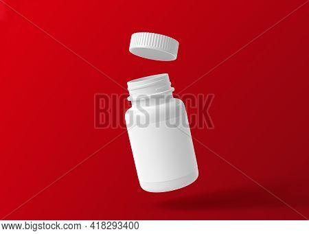 Flying White Bottle For Pills On A Red Background. 3d Rendering Illustration