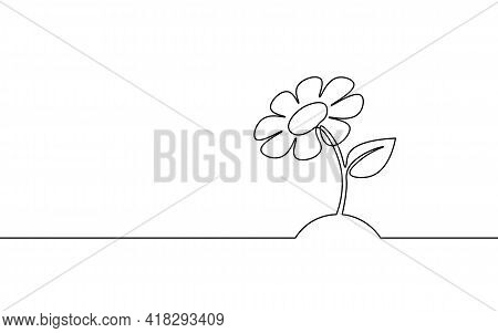 One Line Sunflower Element. Black And White Monochrome Continuous Single Line Art. Floral Nature Wom