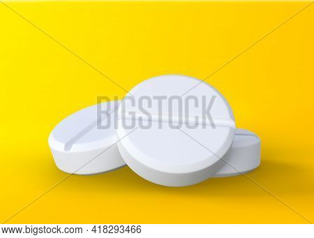 Three White Tablets On Yellow Background, Medical Treatment, Pharmaceutical Or Medication Concept. 3