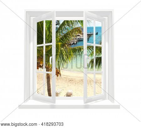 View of ocean through window. Sea view room. Travel, resort, vacation and holiday concept. Beautiful tropical sea view at window in resort. Isolated on white background. 3d render