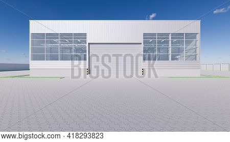 3d Rendering Of Industrial Or Commercial Building Exterior. Use As Factory, Warehouse, Hangar, Store