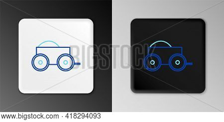 Line Wooden Four-wheel Cart With Hay Icon Isolated On Grey Background. Colorful Outline Concept. Vec