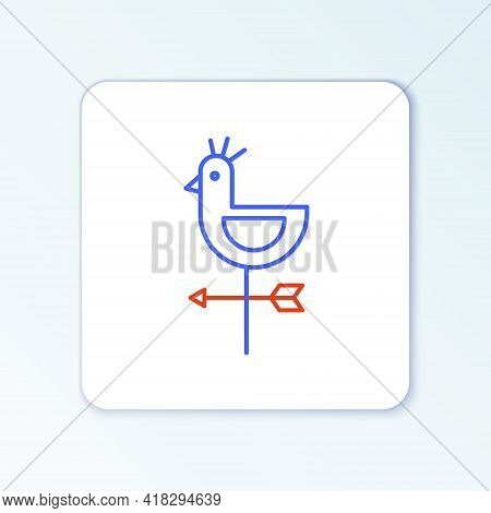 Line Rooster Weather Vane Icon Isolated On White Background. Weathercock Sign. Windvane Rooster. Col