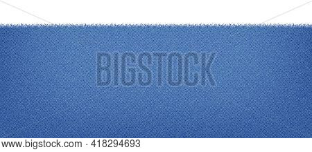 Blue Classic Jeans Denim Texture With A Ragged Edge. Light Jeans Texture. Realistic Vector Illustrat