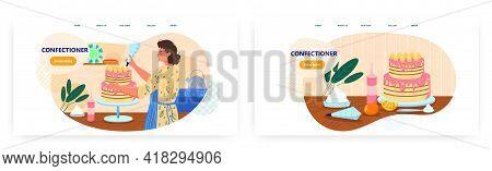 Confectioner Landing Page Design, Website Banner Vector Template Set. Woman Baker Cooking And Decora