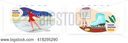 Figure Skating Landing Page Design, Website Banner Vector Templates. Ice Skating Show. Woman Skater
