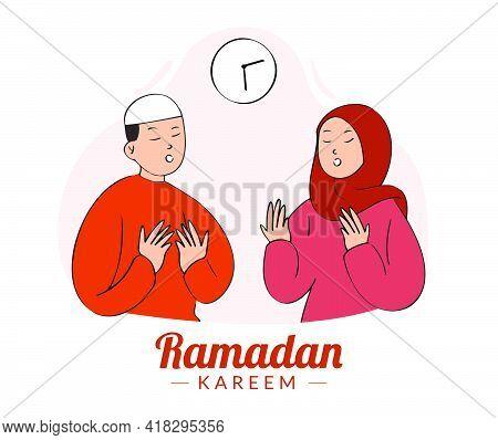 Muslim Boy And Girl Praying During Ramadan Month. Hand Drawn Style Of Islamic Character, Ramadan Kar