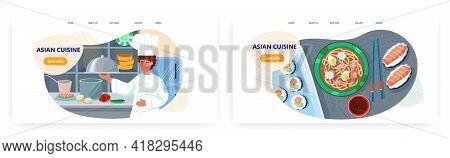 Asian Cuisine Landing Page Design, Website Banner Vector Template Set. Chef Cooking Japanese Ramen N