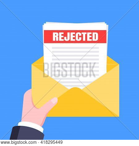 College Or University Reject Letter With Envelope And Paper Sheets Document Email. Job Employment Of