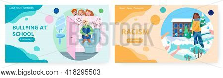 Bullying And Racism Landing Page Design, Website Banner Vector Template Set. School Bullying And Rac