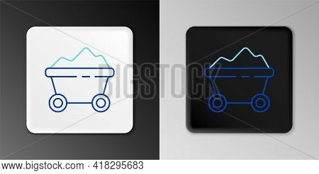 Line Coal Mine Trolley Icon Isolated On Grey Background. Factory Coal Mine Trolley. Colorful Outline