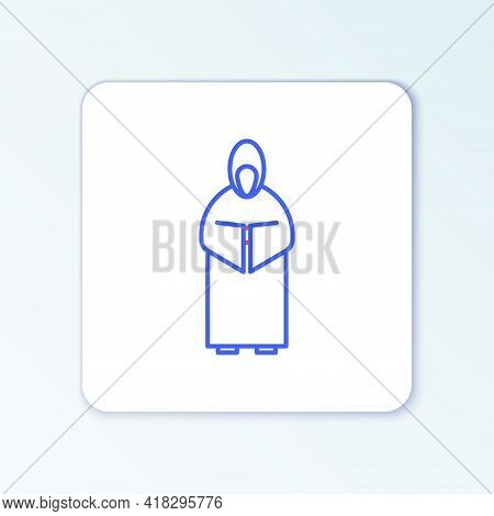 Line Monk Icon Isolated On White Background. Colorful Outline Concept. Vector