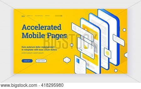 Vector Illustration Of Modern Smartphone With Several Fast Websites And Applications On Advertisemen